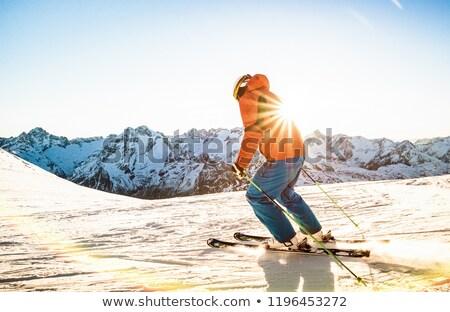 Atlet kayakçı aşağı dağ kar kış Stok fotoğraf © mayboro