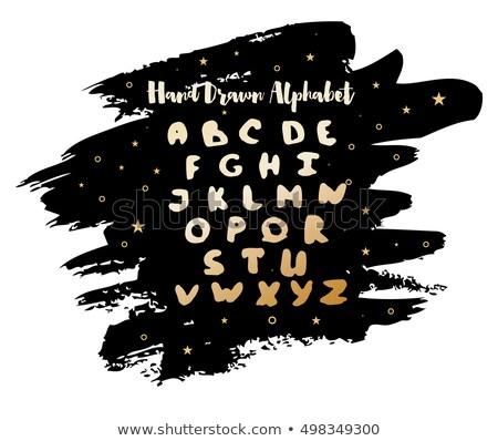 Angol kézzel írott ábécé vízfesték folt csillagok Stock fotó © ShustrikS