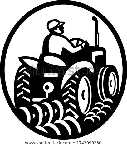 Organique agriculteur domaine vintage tracteur ovale Photo stock © patrimonio