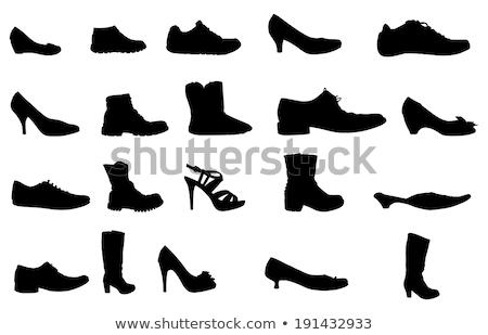 Ingesteld schoenen silhouetten ornamenten vector Stockfoto © ElaK