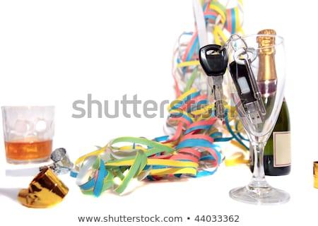 las · llaves · del · coche · dentro · whisky · claves · vidrio · blanco - foto stock © morrbyte