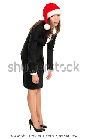 Foto stock: Natal · mulher · de · negócios · cansado · seis
