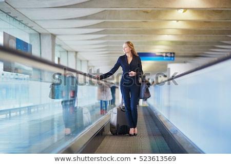 Gyönyörű fiatal szőke nő üzletasszony utazás első osztály Stock fotó © darrinhenry