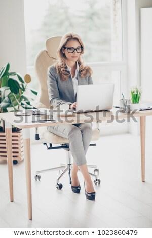 Szőke nő dolgozik asztali számítógép üzlet nő lány Stock fotó © photography33