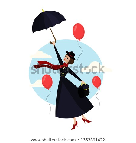 ребенка · Flying · зонтик · месяц · старые - Сток-фото © nailiaschwarz