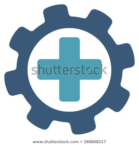 set of gear wheels in blue heart stock photo © gladiolus