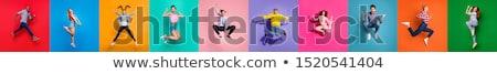 mulher · moda · modelo · saltando · jovem · modelo · masculino - foto stock © feedough