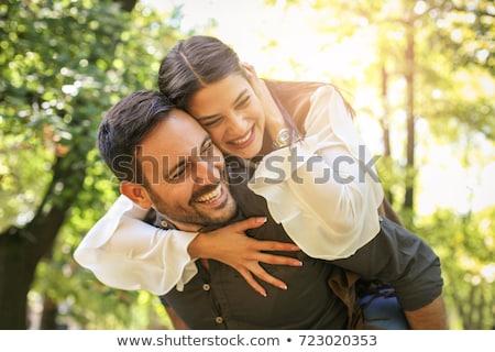 Paar park veld portret lachend vergadering Stockfoto © photography33