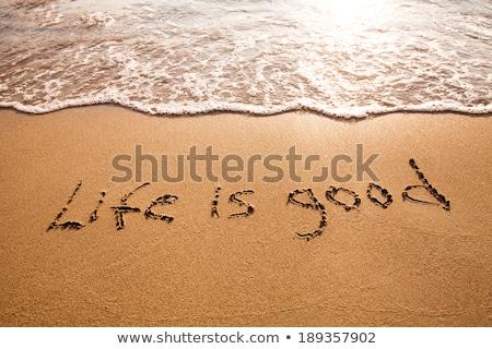 leven · goede · positiviteit · geïsoleerd · tekst · vintage - stockfoto © ansonstock