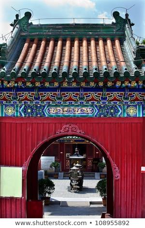 Çin · budist · tapınak · çatı · detay · renkli - stok fotoğraf © billperry
