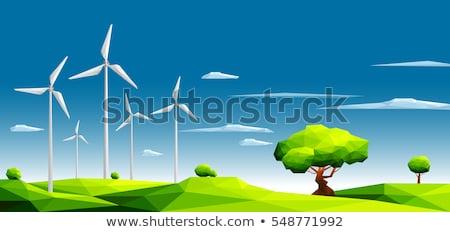 Tájkép szél generátor vektor égbolt ház Stock fotó © krabata