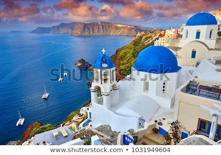 falu · Santorini · sziget · naplemente · kilátás · égbolt - stock fotó © elxeneize