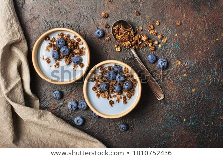two yoghurt desserts with blueberries from top Stock photo © Rob_Stark