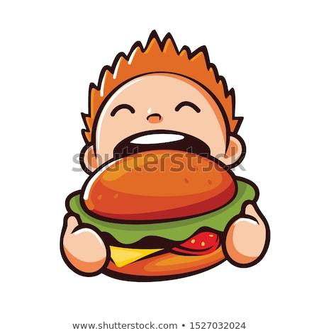 aranyos · boldog · fiatal · srác · tart · hamburger · fehér - stock fotó © wavebreak_media