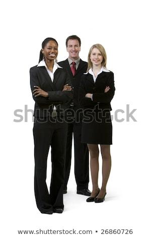 üzletember mosolyog keresztbe tett kar három üzletasszonyok beszél Stock fotó © wavebreak_media