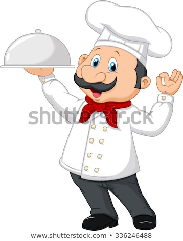funny cartoon chef with tray of food in hand Stock photo © balasoiu
