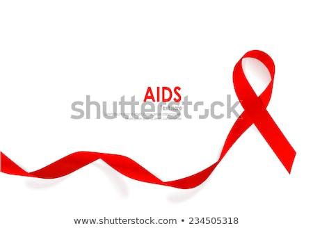 AIDS tudatosság vörös szalag izolált fehér egészség Stock fotó © shutswis