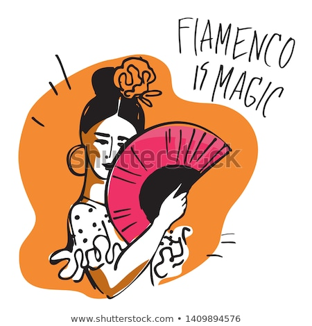 Flamenco dancer woman gypsy with spanish hand fan Stock photo © stepstock