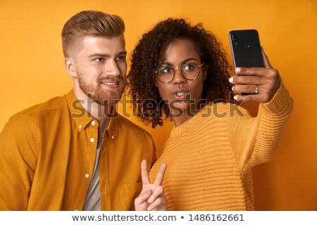 telefonu · kobieta · zwycięstwo · gest · szczęśliwy · business · woman · telefonu - zdjęcia stock © feedough