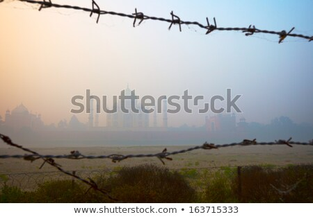 Taj Mahal from the riverside, trough barbed wire Stock photo © pzaxe