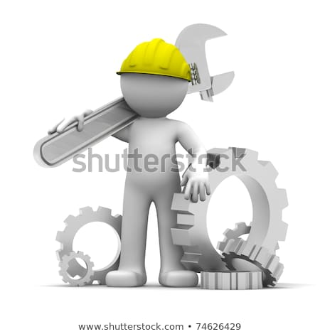 industrial worker with wrench and gears conceptual illustration stock photo © kirill_m