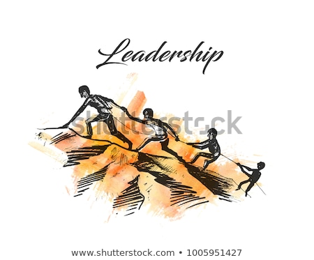 Businessman on the top of a rock helping an other businessman to Stock photo © ratch0013