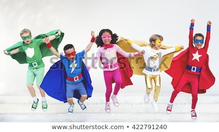 スーパーヒーロー 子供 パワフル 勇敢な 英雄 飛行 ストックフォト © Lightsource