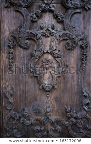 Floral embellishment on wooden panel Stock photo © Nejron