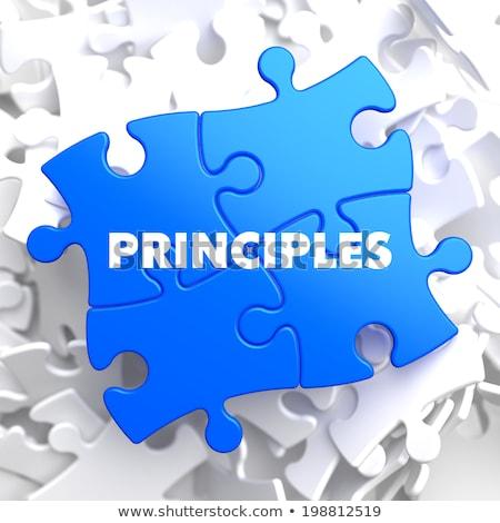 Principes Blauw puzzel witte business bedrijf Stockfoto © tashatuvango