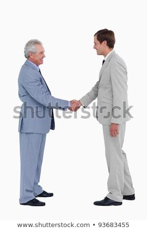 Idős férfi felajánlás kéz kézfogás portré Stock fotó © bmonteny