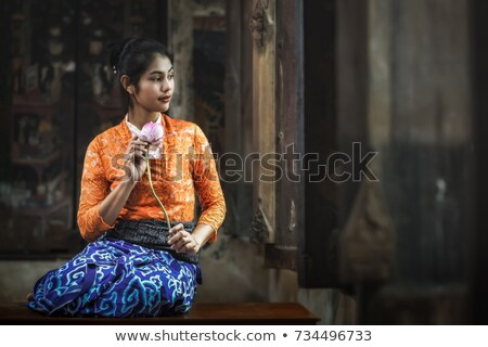 red lotus in swamp of thailandvintage style stock photo © yanukit
