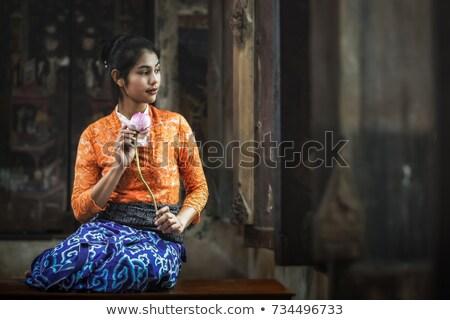 red lotus in swamp of thailandvintage style stock photo © yanukit