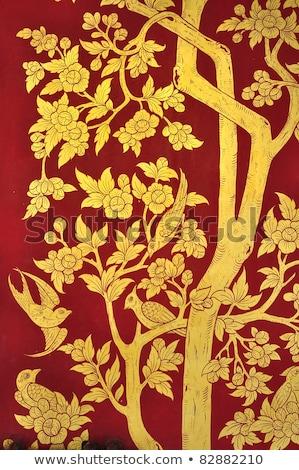 花柄 · 伝統的な · タイ · スタイル · 芸術 · 壁 - ストックフォト © frameangel