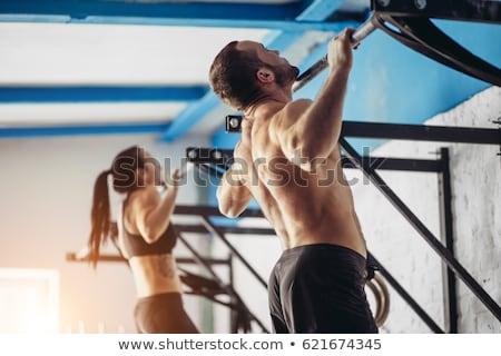 ディップ リング 少女 女性 トレーニング ジム ストックフォト © lunamarina