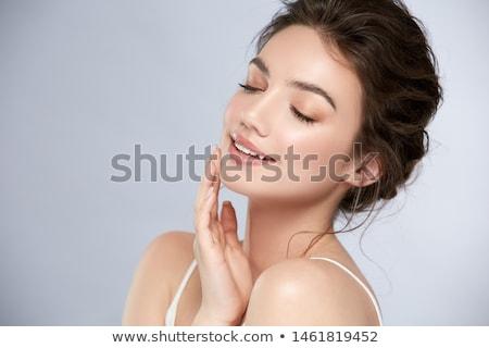 Belo sorrir retrato morena mulher sorrindo isolado Foto stock © ajn