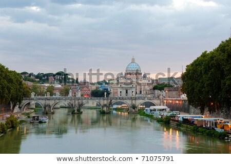 Gyönyörű kilátás Róma híd angyalok Olaszország Stock fotó © tannjuska