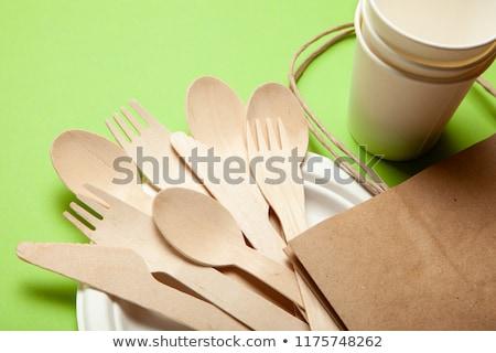 Zöld bambusz tányérok szett izolált fehér Stock fotó © PetrMalyshev