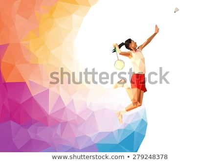 Badminton Player Jump Smash Low Polygon Stock photo © patrimonio