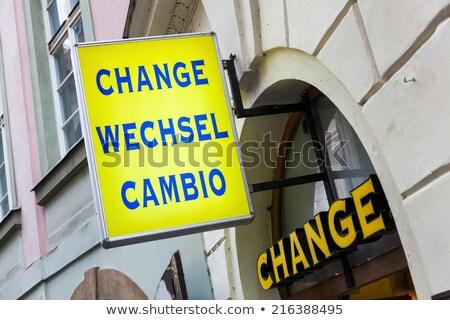 Neon Travel Bureau Sign on Building Stock photo © feverpitch