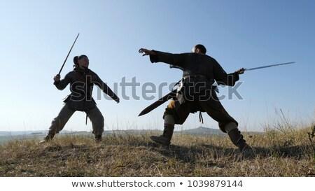 espada · escudo · lâmina · ícone · vetor - foto stock © Dxinerz