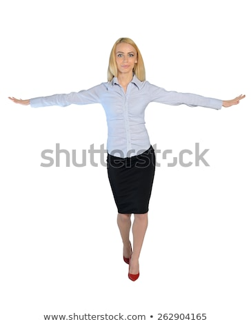 Business woman walk on imaginary rope Stock photo © fuzzbones0