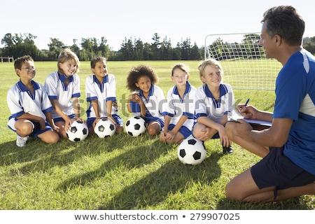 gyerekek · futball · edző · futball · pálya · képzés - stock fotó © stevanovicigor