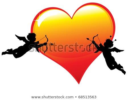 valentin · nap · kártya · nyíl · szív · papír · keret - stock fotó © illustrart
