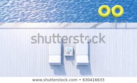 şezlong · yüzme · havuzu · gözlük · havlu · plaj · su - stok fotoğraf © frameangel