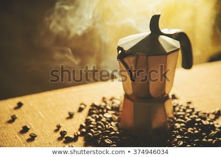 Stilleven Italiaans koffiezetapparaat koffiebonen vintage Stockfoto © Elisanth