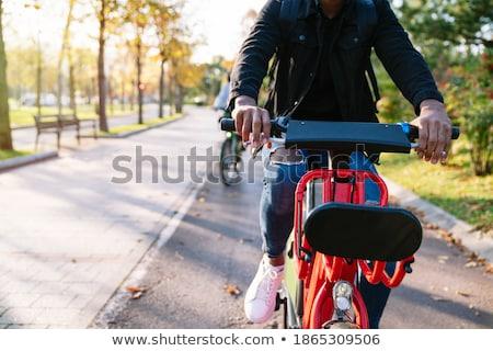 Kerékpáros fényképezés naplemente illusztráció sport sziluett Stock fotó © adrenalina