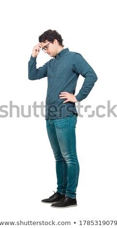 Kant man bril hand voorhoofd zijaanzicht Stockfoto © feedough