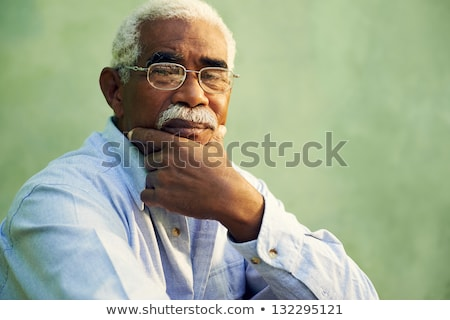 Face of an old african american black man Stock photo © zurijeta