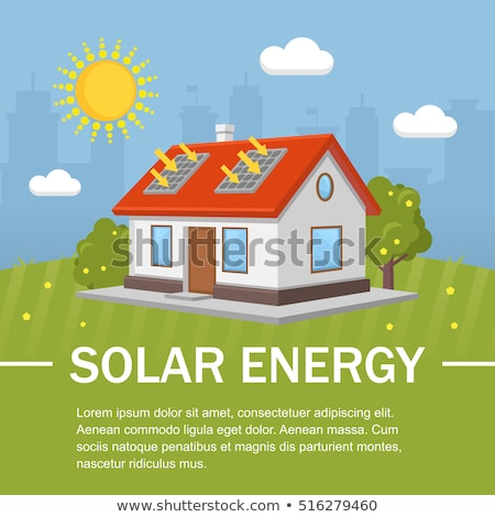 Solar energy. Caring about environment. House with solar panels on roof. Alternative energy sources Stock photo © orensila