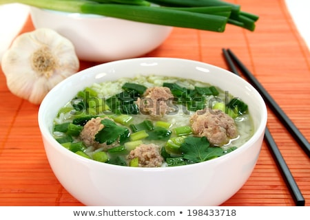 Rice soup with meat balls Stock photo © joker